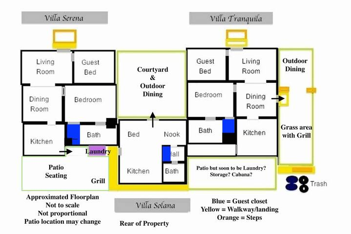 Three separate Vacation Villas are side by side. Each with a private, outdoor space. This is an approximate floorplan, not all aspects of the building design are shown. The  living room and guest bedroom are longer than what is shown.