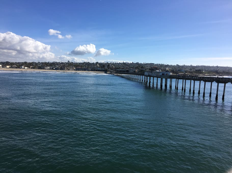 Ocean Beach pier is a lovely area to stroll with a cup of coffee or lunch! Just a few blocks from the cottage.