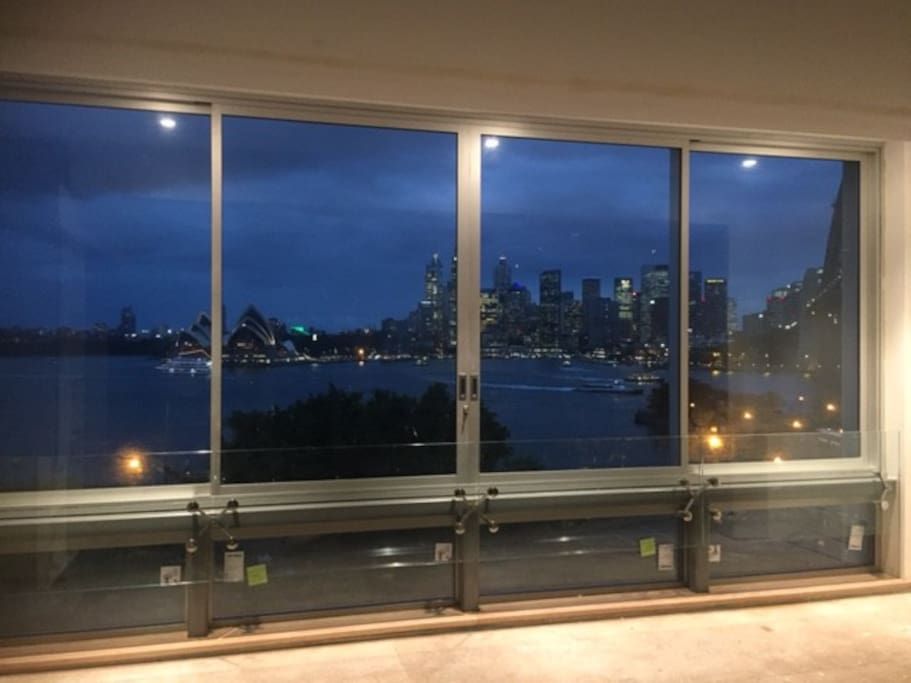 Night time view from lounge to Harbour