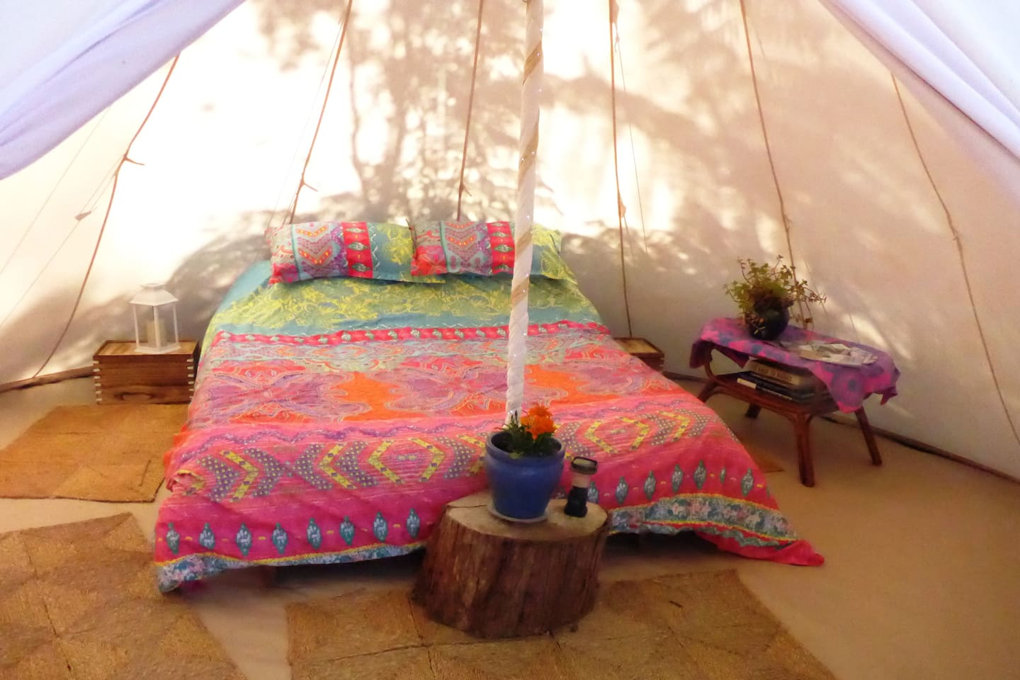 Our Tipi is 5m diameter so there's room for a very comfy queen bed and your luggage.