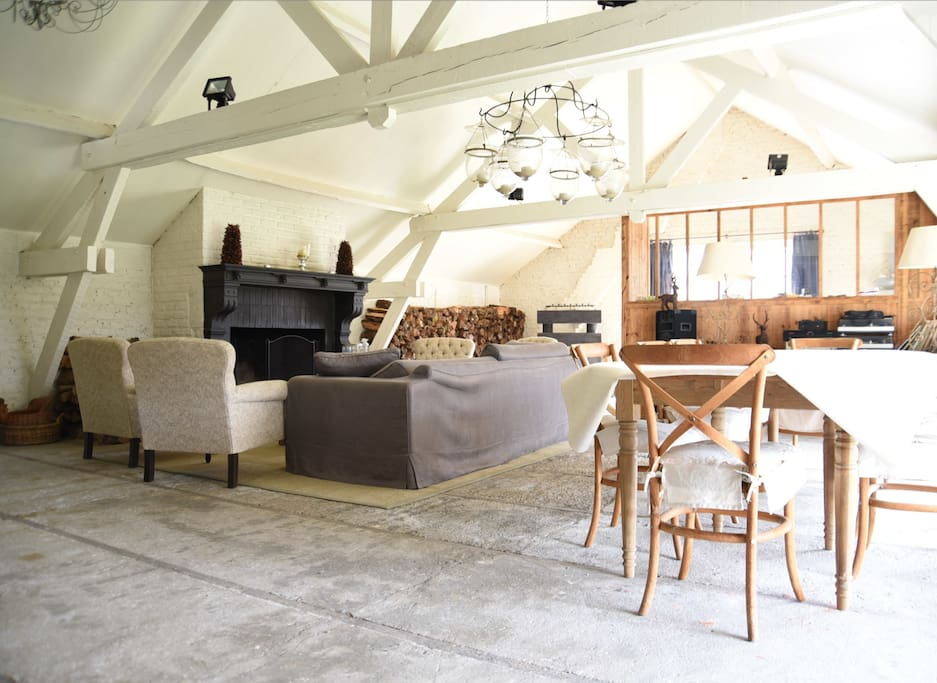 Living and fire place in the Orangery