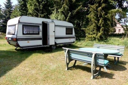 Urlaub im kleineren Wohnwagen am Waldsee - Camper/RV