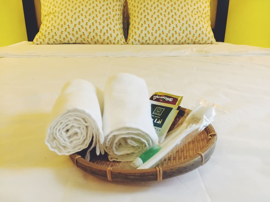 We provide brushes,towel, tea, coffee for guest