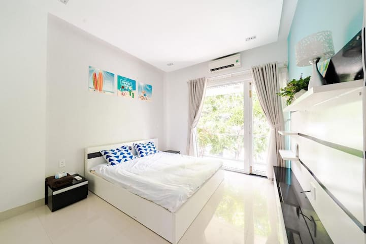 The Bedroom 3 is designed with big window and balcony. It is equipped by King size bed, large closet, air-conditioner,  bathroom inside, hot water machine, hair dryer.