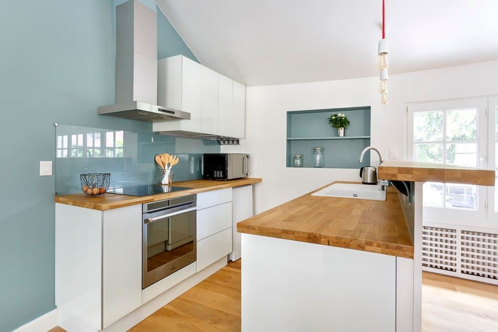 Modern kitchen with induction stove and oven