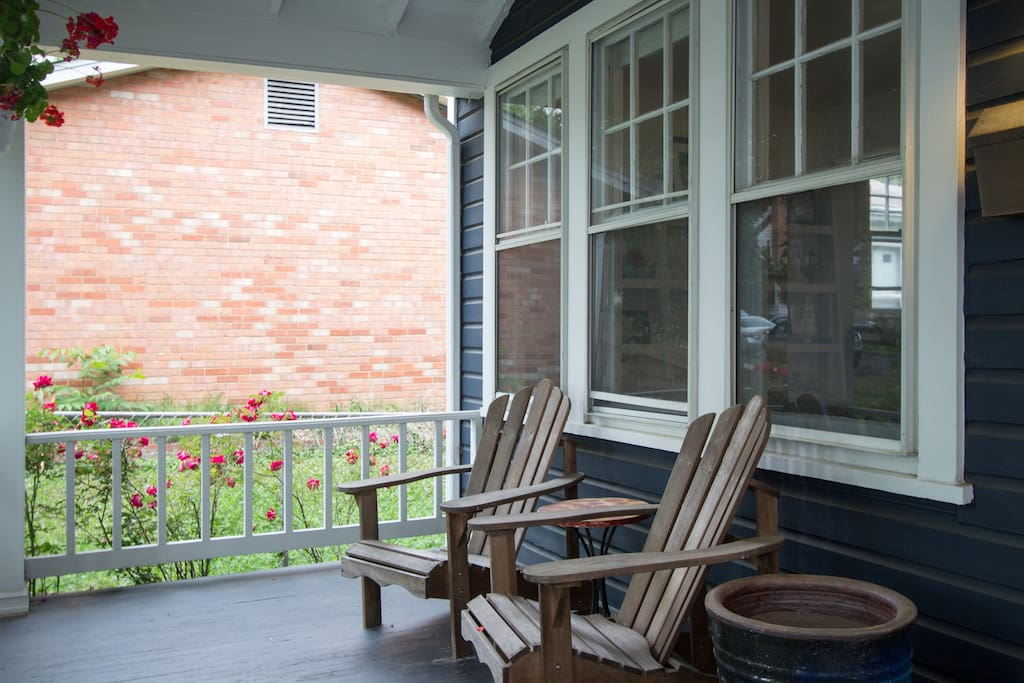 You can make yourself comfortable on our front porch, a relaxing spot to watch the neighborhood go by.