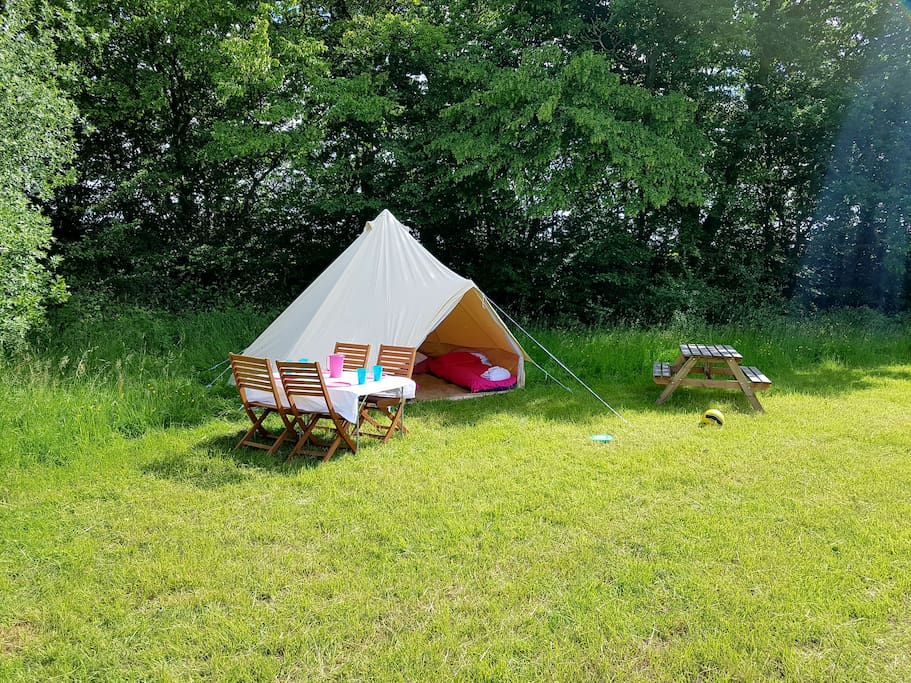 Bell Tent ten available sleep two to four.