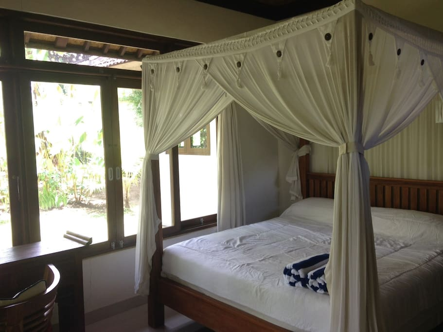 We provide a comfortable bed with a standard size, and enough for 2 or 3 persons.