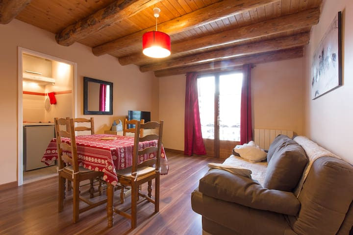 Appartment in a renovated farm facing Mont Blanc