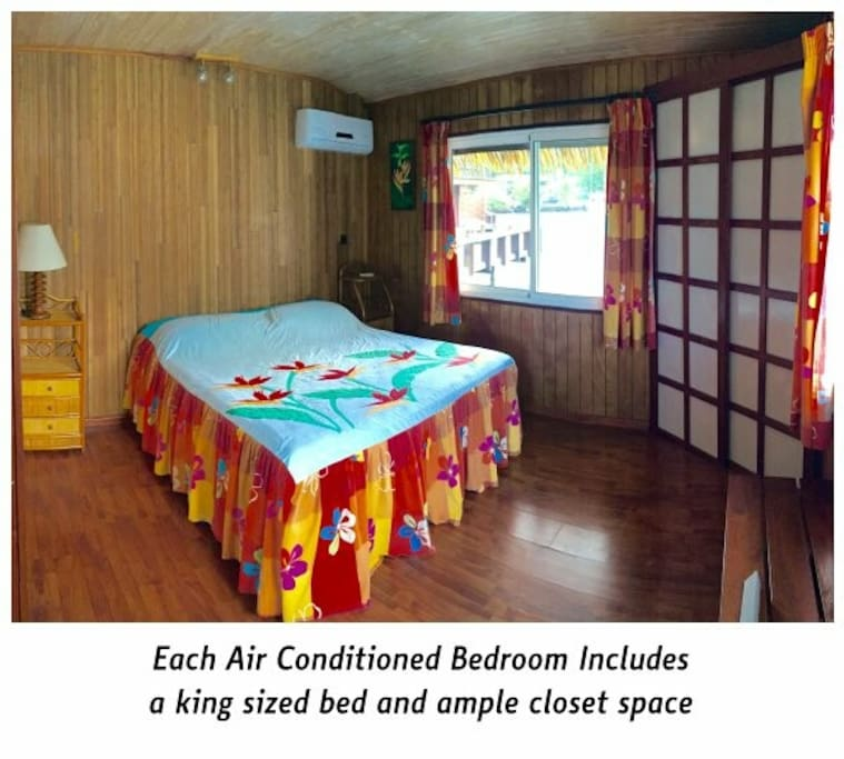 One of the bedrooms with a king size bed