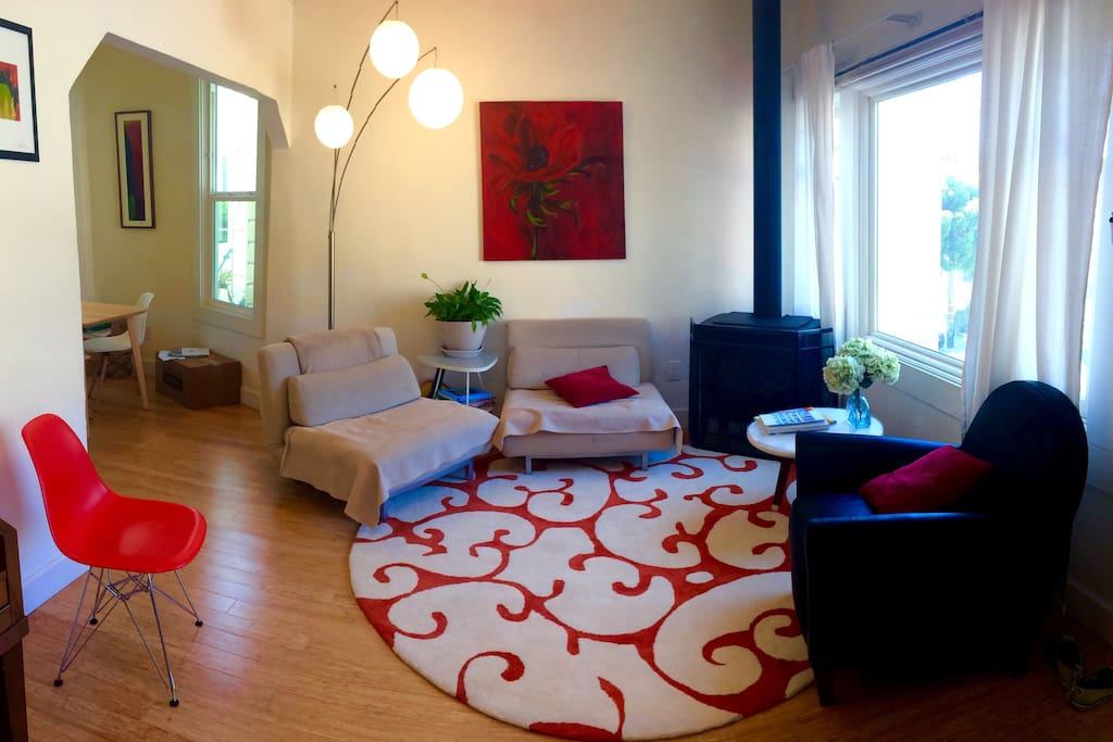 We recently updated the floor and rug in our warm and welcoming living room.