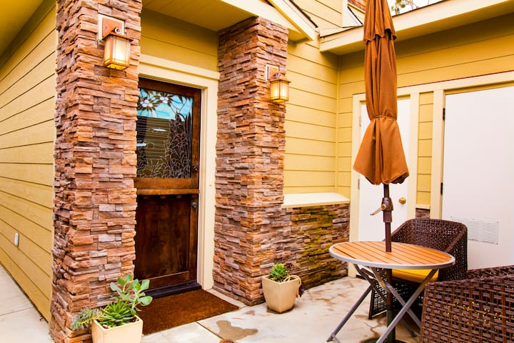 Enjoy a cup of coffee on the front patio