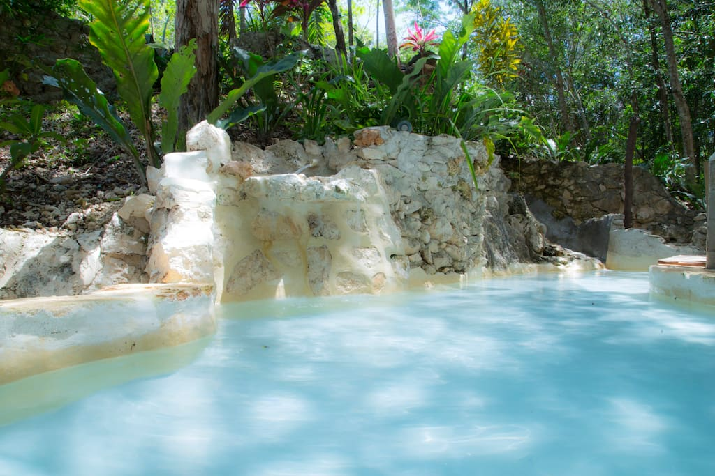 Your fantastic soaking pool and waterfall.
