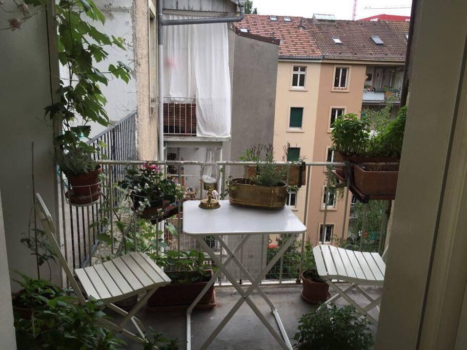 Balcony from kitchen towards backyard