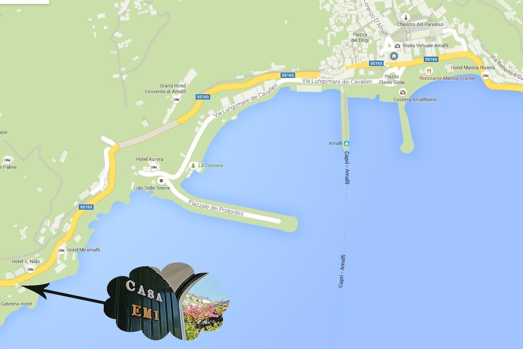 EMI LOCATION HOUSE 750 MT FROM THE CENTER OF AMALFI ubicazione esatta casa EMI 750mt da Amalfi centro