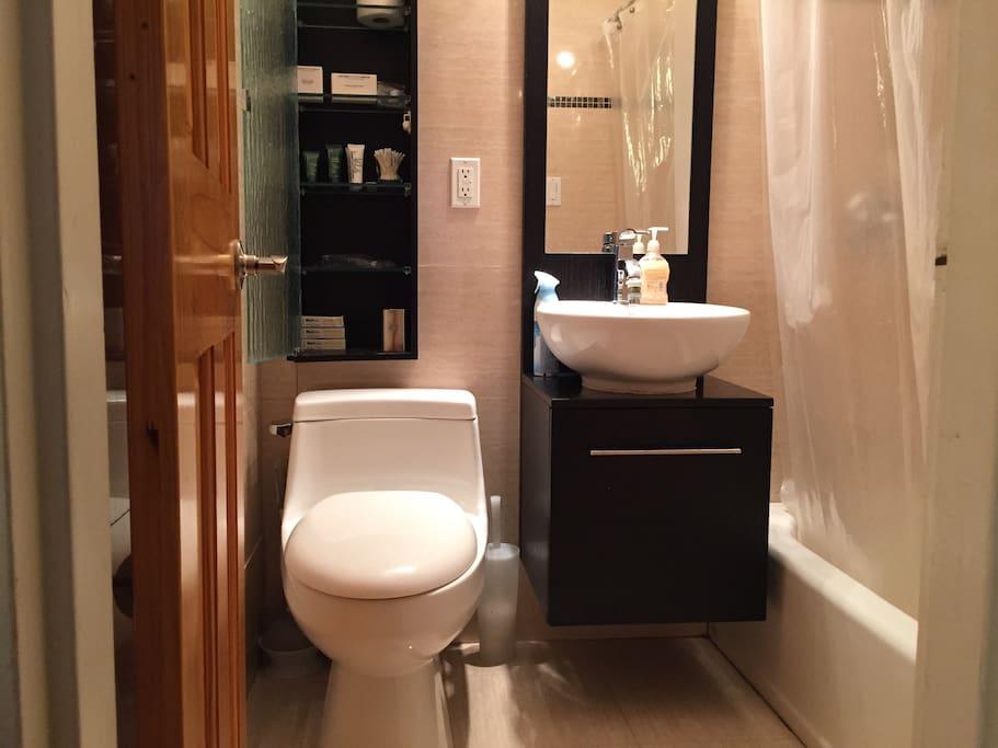 luxurious bathroom, sparkly clean, well-lit