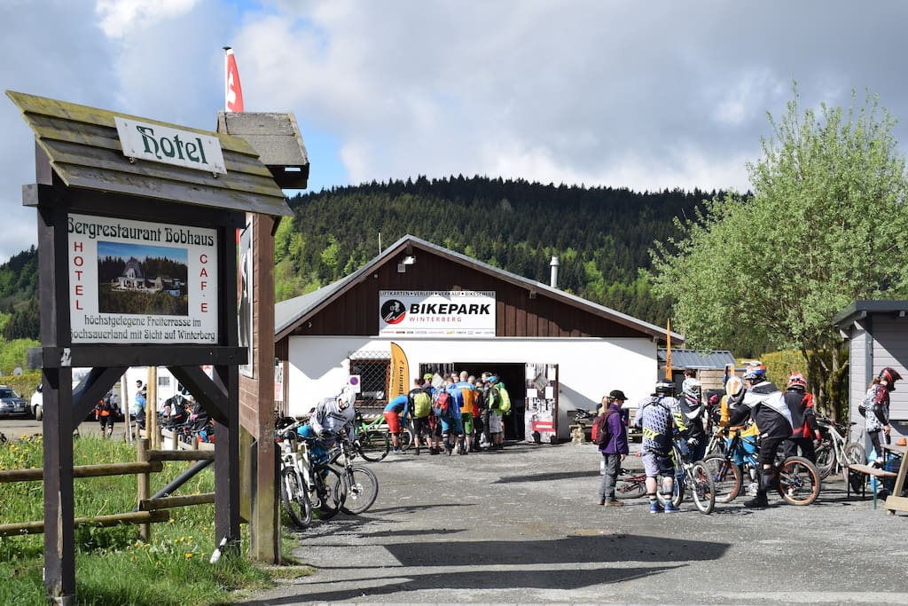 Het Bikepark is op maar 50 meter afstand