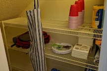 Pantry from the kitchen. Stocked with some amenities for your arrival.