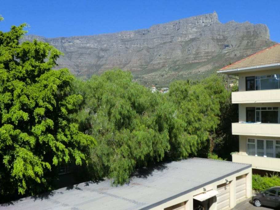The awesome view of Table Mountain from the balcony