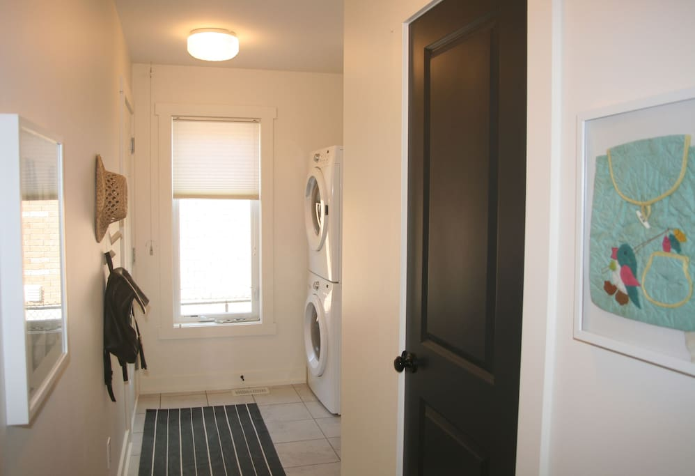 Mudroom with laundry and powder room