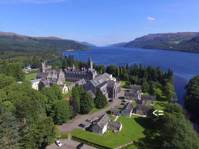 Apartment in former Abbey and Fort in Loch Ness.