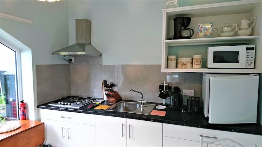 Well equipped kitchen, fridge, microwave, hob