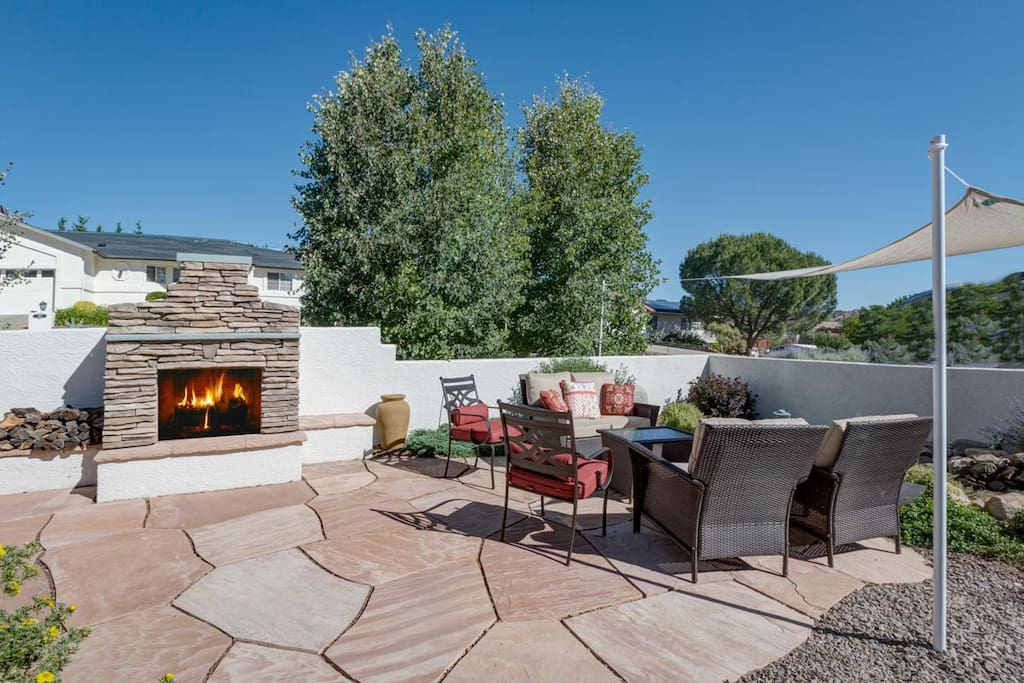 Enjoy a glass of wine by the fire pit!