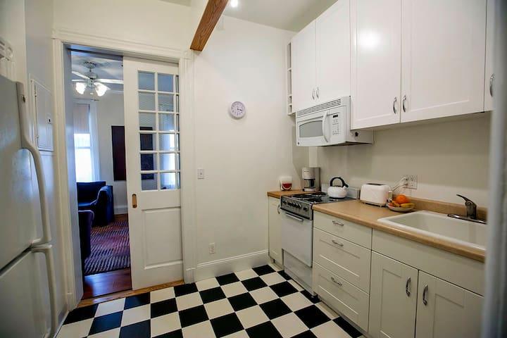 Pocket door between kitchen and living room