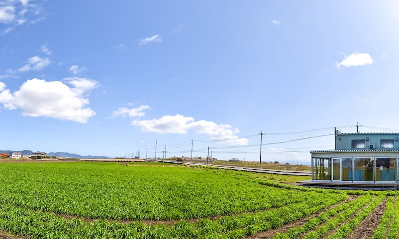 """The open terrace house in the middle of  island's farm. You can enjoy """"farm-view"""" from your bed cabins. Stay slowly."""