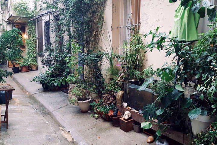 un peu de verdure en plein centre ville, agréable petite cour.