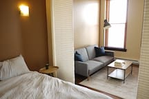 Bedroom w/ easy access to the living space