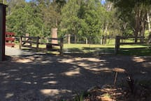 Horse paddock in front of Stables