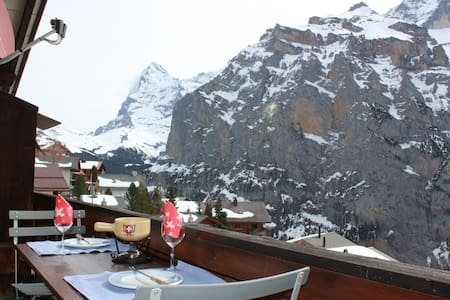 Murren apartment, balcony, garden & awesome views - Mürren - Pis