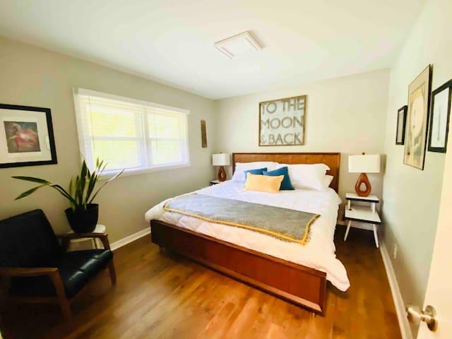Master bedroom, King size memory foam bed, nightstands each have powerstrips