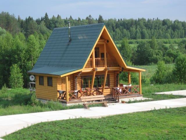 Новый дом у реки в сосновом лесу