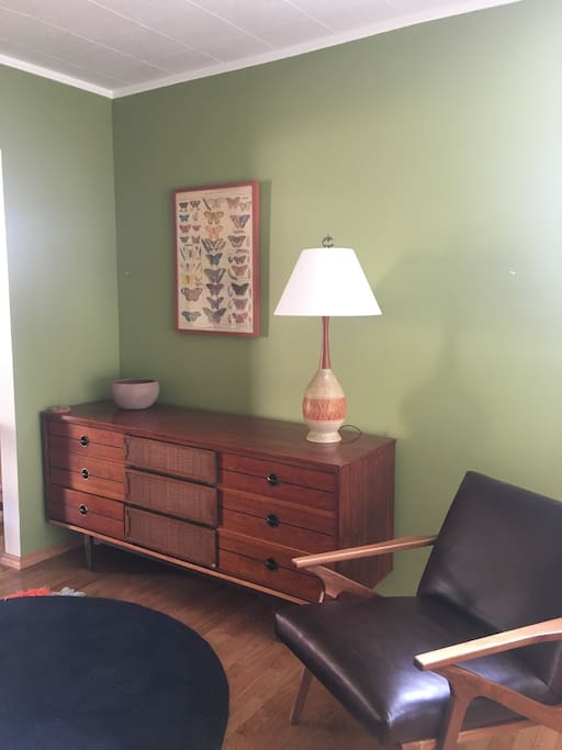 Living area with midcentury modern credenza for guest storage.