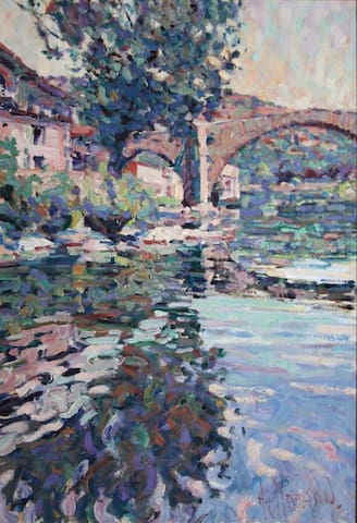 Vieux Pont, Le Vigan.  (15 minute walk from l'Orangerie)  Painting by Arthur Maderson