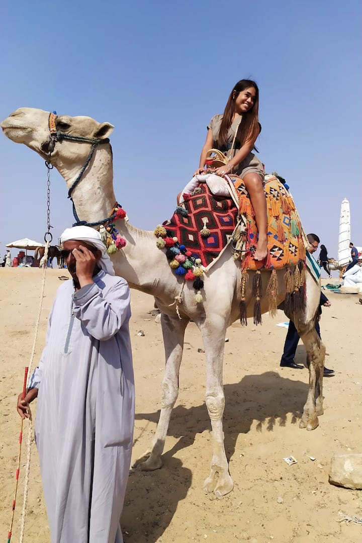 CAMEL RIDE AT PYRAMIDS TOUR FOR SEE ALL THE PYRAMIDS AND THE QUEENS PYRAMIDS FROM INSIDE WEHAVE THE BEST SAFARY TOUR DURATION FIVE HOURS FOR ENJOY WITH PYRAMIDS TOUR CAMEL RIDE