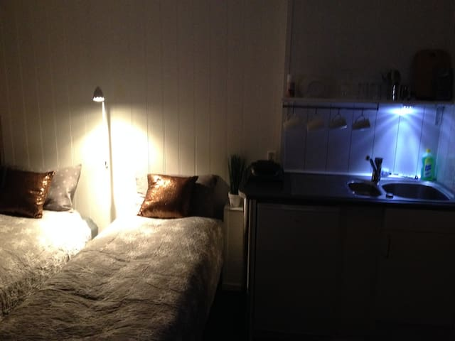 Two comfortable singel beds,Small kitchen with waffel iron , sink and refrigerator