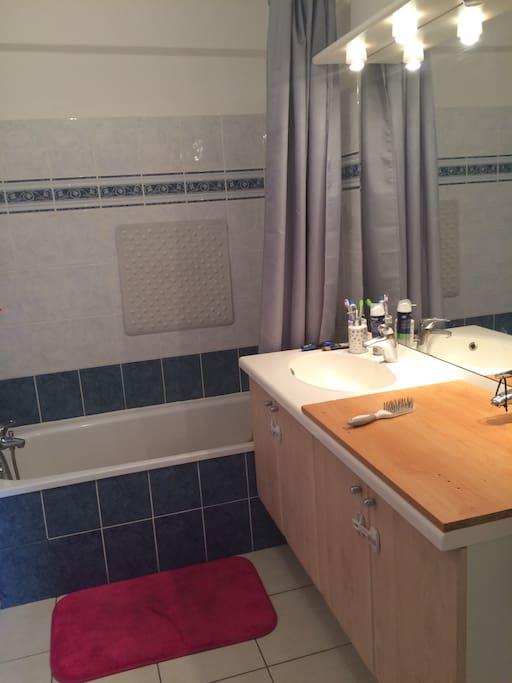 Salle de bain Avec baignoire et vasque.  Tres grand miroir, deuxième casque condamné pour faire la table à langer bébé