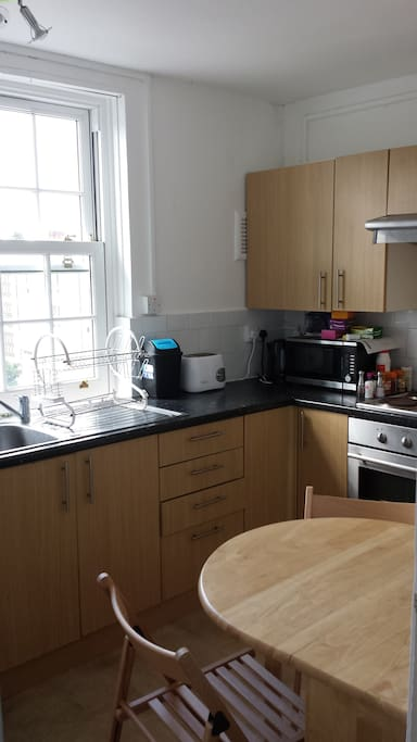 Kitchen 1 (there are oven, microwave, water boiler and utensils which you can use to cook)