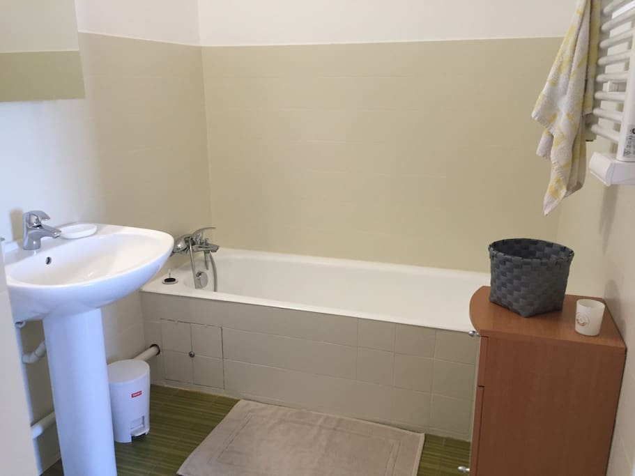 Salle de bain avec lave linge.