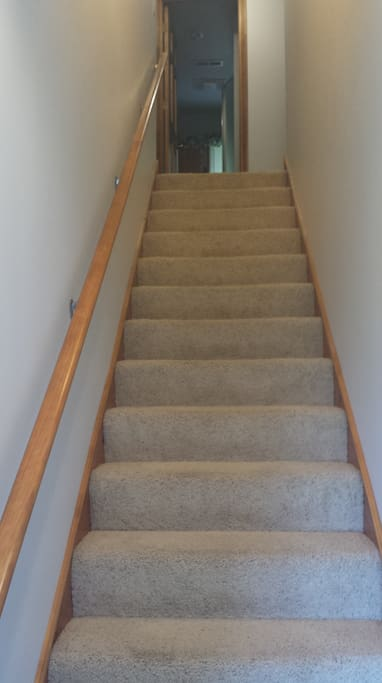 15 steps up to your area.  A handrail for your safety. From this view, your room is to the right.