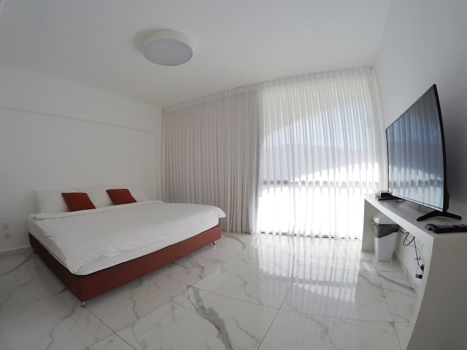 Room number 1 - master bedroom (King size bed) + Exit to the balcony
