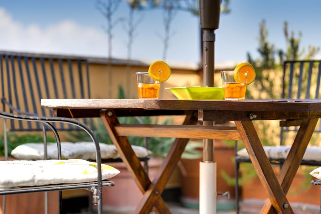 the terrace is ready for your breakfast