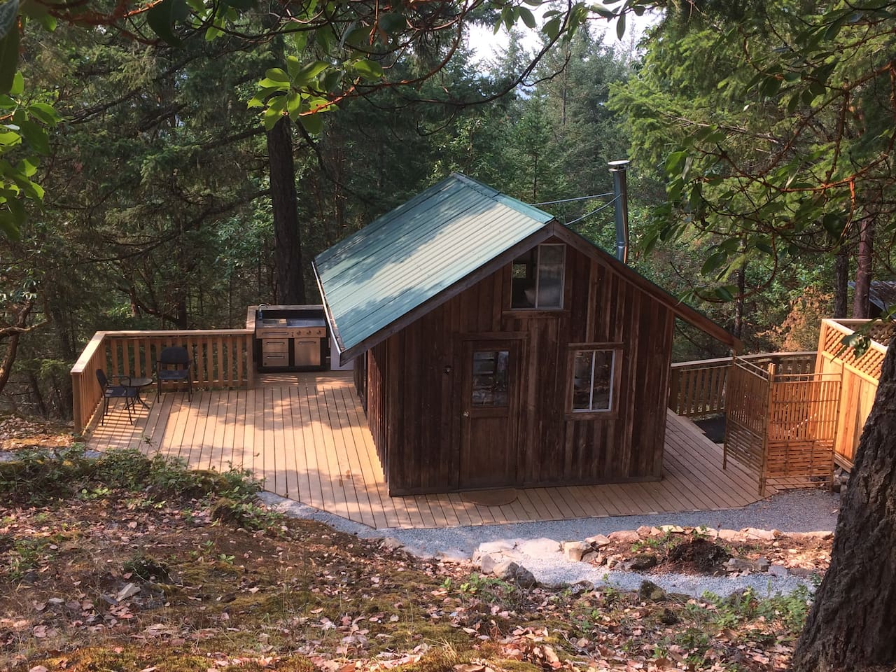 Hot water on demand outdoor shower &outhouse;outdoor cooking, propane fridge