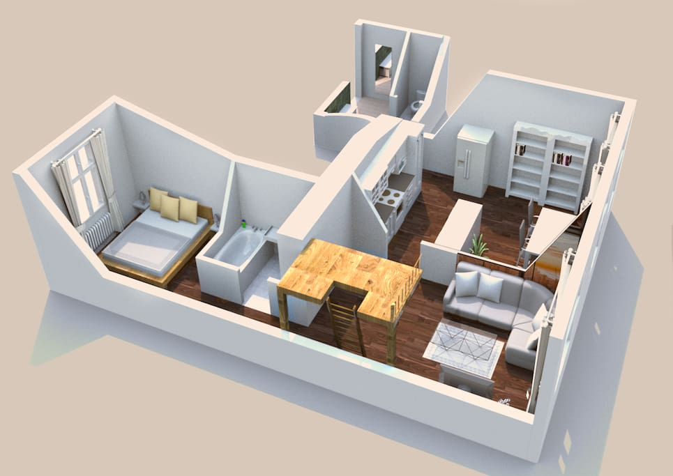 whole apartment in 3d