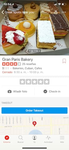Bakery, Cuban cafeteria, they serve full, economical breakfasts, sandwiches, lunch, dinner and delicious sweets, closes 10pm.