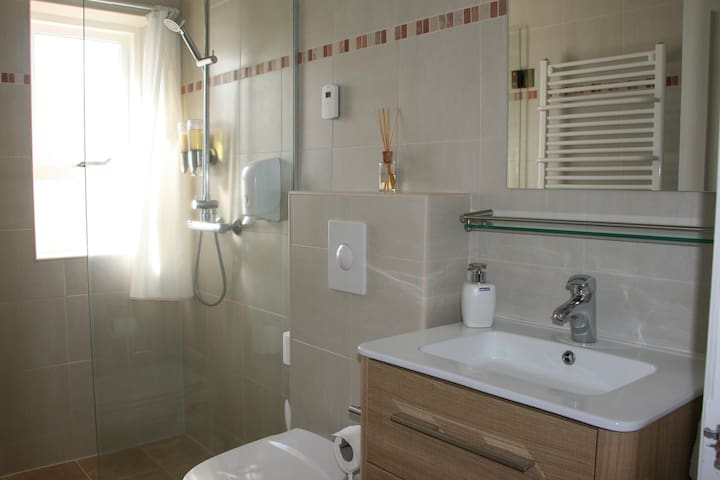 A bathroom with a roomy shower, a towel rack radiator and a toilet, and another lavatory with wash basin.