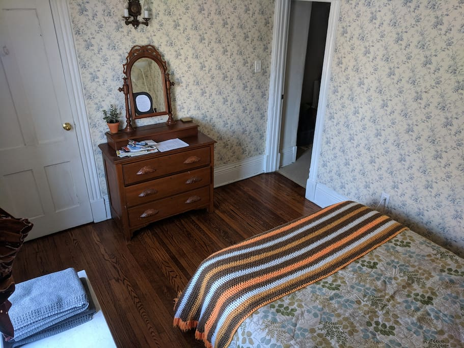 Our Victorian home has lots of character, including the wallpaper that your grandma would love!